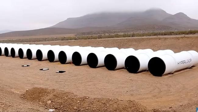 The tubes used to build the Hyperloop track in Nevada desert.