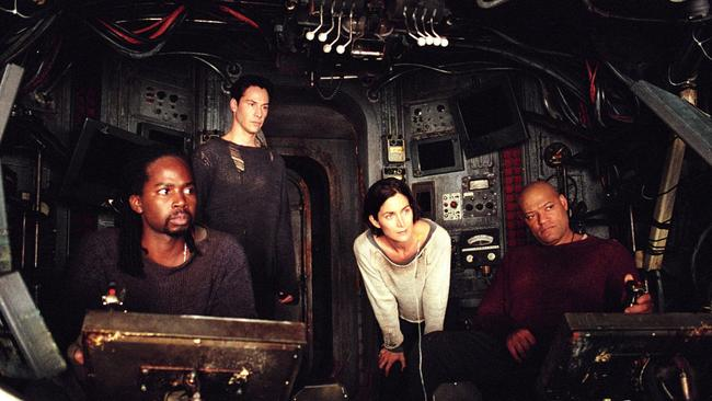 The Matrix Reloaded cast: Harold Perrineau, Keanu Reeves, Carrie-Anne Moss and Laurence Fishburne. Picture: Supplied