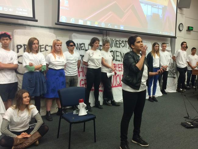 Students, including multiple rape survivors, talk to the parents about their experiences. Picture: Nina Dillon Britton