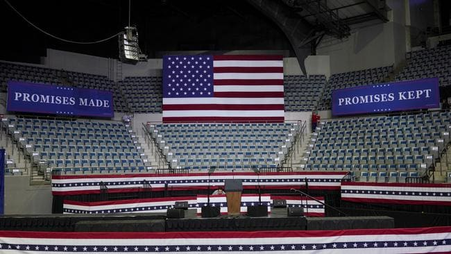 The stage is set ahead of President Donald Trump's campaign stop in Fort Wayne, Indiana, today. Picture: AFP
