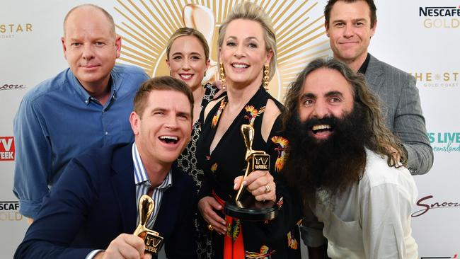 Gold Logie nominees: Tom Gleeson, Sam Mac, Eve Morey, Amanda Keller, Costa Georgiadis and Rodger Corser. Missing is Waleed Aly.
