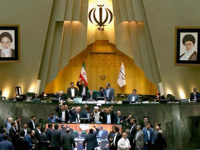 Iranian MPs chanting US slogans at the parliament in Tehran. Picture: AFP
