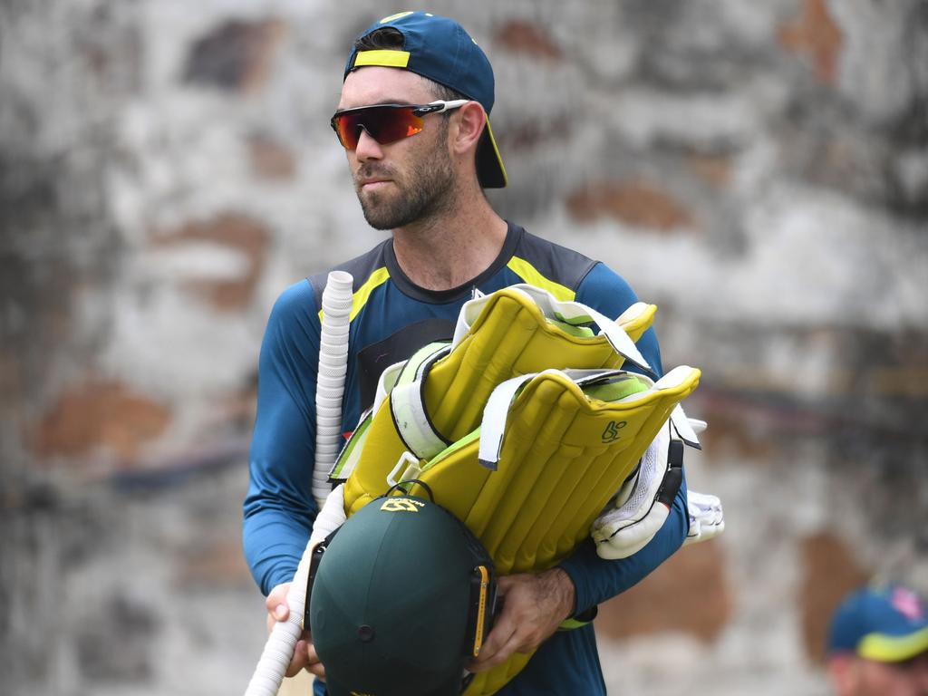 Australian cricketer Glenn Maxwell leaves after a net session at the Feroz Shah Kotla stadium in New Delhi on March 12, 2019. - India and Australia will play on March 13 the fifth one-day international of Australia's tour of India. (Photo by Sajjad HUSSAIN / AFP) / ----IMAGE RESTRICTED TO EDITORIAL USE - STRICTLY NO COMMERCIAL USE-----