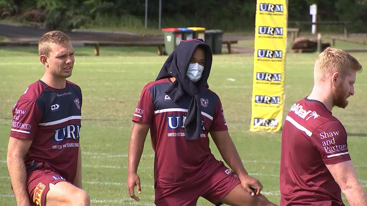 Manly players at training on Tuesday.