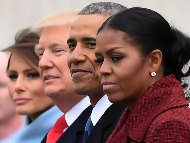 The Obamas and the Trumps on Inauguration Day in 2017. Picture: AFP