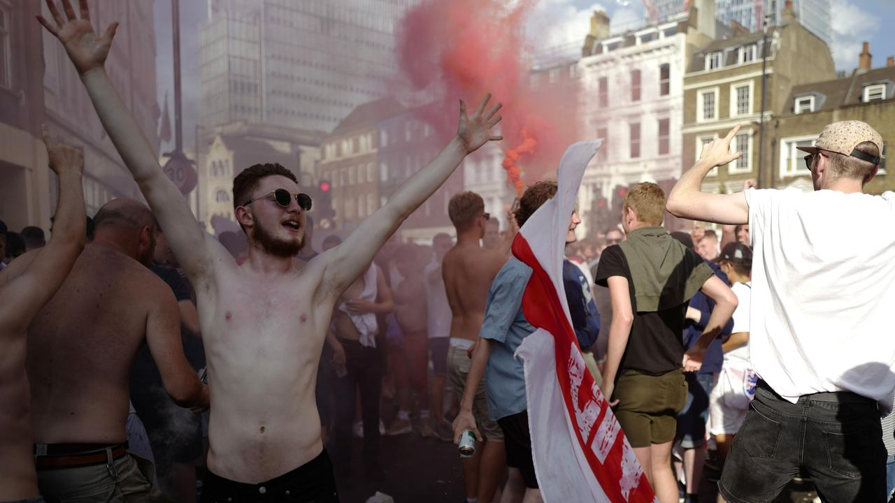 You haven't won it yet lads. England fans lose their minds over the Three Lions World Cup run.