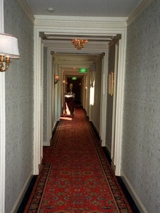 The hallway leading to the room occupied by Michael Hutchence at the time of his death.