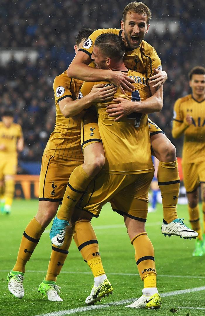 Harry Kane of Tottenham Hotspur (C) celebrates as he scores their third goal