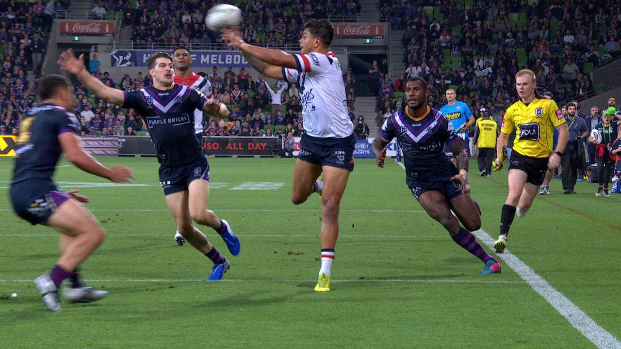 Latrell Mitchell produced a brilliant fend and try assist for James Tedesco.