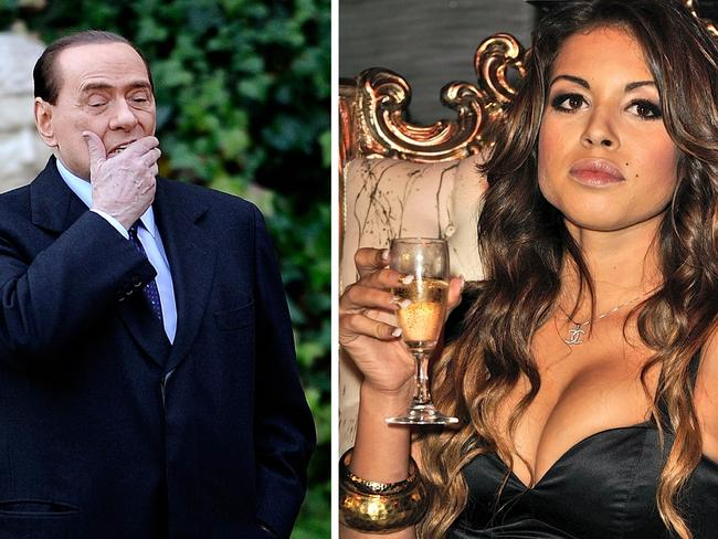 Former Italian Prime Minister Silvio Berlusconi (L) at Villa Madama in Rome and Moroccan Karima El Mahroug, nicknamed Ruby the Heartstealer in a nightclub. Picture: AFP