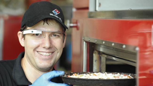 Domino's trainer Stewart Lyne gave Google Glass a go. Photo: Claudia Baxter