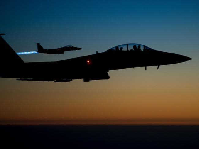 A pair of US air force F-15E Strike Eagles similar to those which attacked Syrian tanks and troops yesterday. Picture: AFP