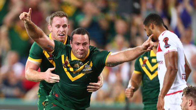 Cordner gives Australia the lead from a Michael Morgan short ball.