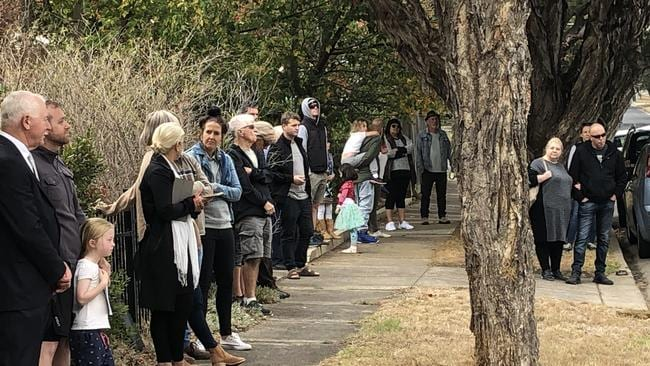 The crowd at the auction of 8 Brocka Ave, Belmont.