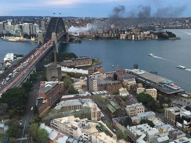 Smoke seen from a bus blaze on the Sydney Harbour Bridge.