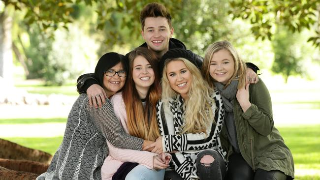 Loving family ... Mastin caught up with his own family including mum Deb and his three sisters l-r Georgina, 18, Liv, 21, and Philippa, 14, in Adelaide last week. Picture: Tait Schmaal