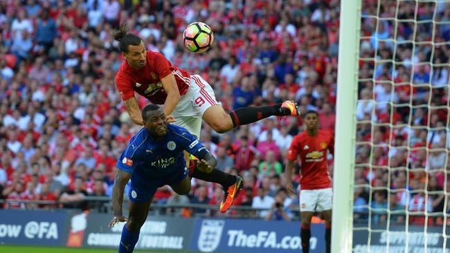 Manchester United's Zlatan Ibrahimovic scores.