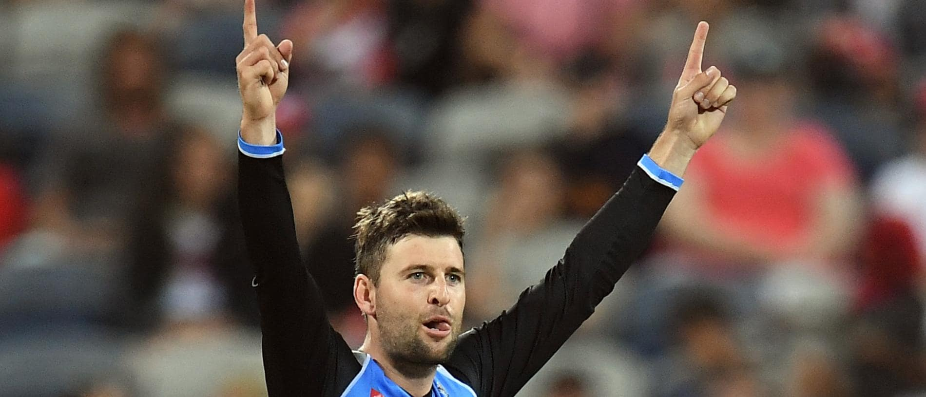 Liam O'Connor of the Strikers reacts after dismissing Tom Cooper of the Renegades during the Big Bash League (BBL) match between Melbourne Renegades and the Adelaide Strikers at GMHBA Stadium in Melbourne, Thursday, January 3, 2019. (AAP Image/Julian Smith) NO ARCHIVING, EDITORIAL USE ONLY, IMAGES TO BE USED FOR NEWS REPORTING PURPOSES ONLY, NO COMMERCIAL USE WHATSOEVER, NO USE IN BOOKS WITHOUT PRIOR WRITTEN CONSENT FROM AAP
