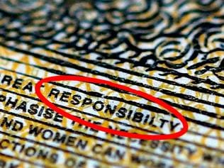 "Pictured is a current circulation $50 note printed with the word ""responsibility"" spelt incorrectly in Sydney, Thursday, May 9, 2019. (AAP Image/Dylan Coker) NO ARCHIVING"