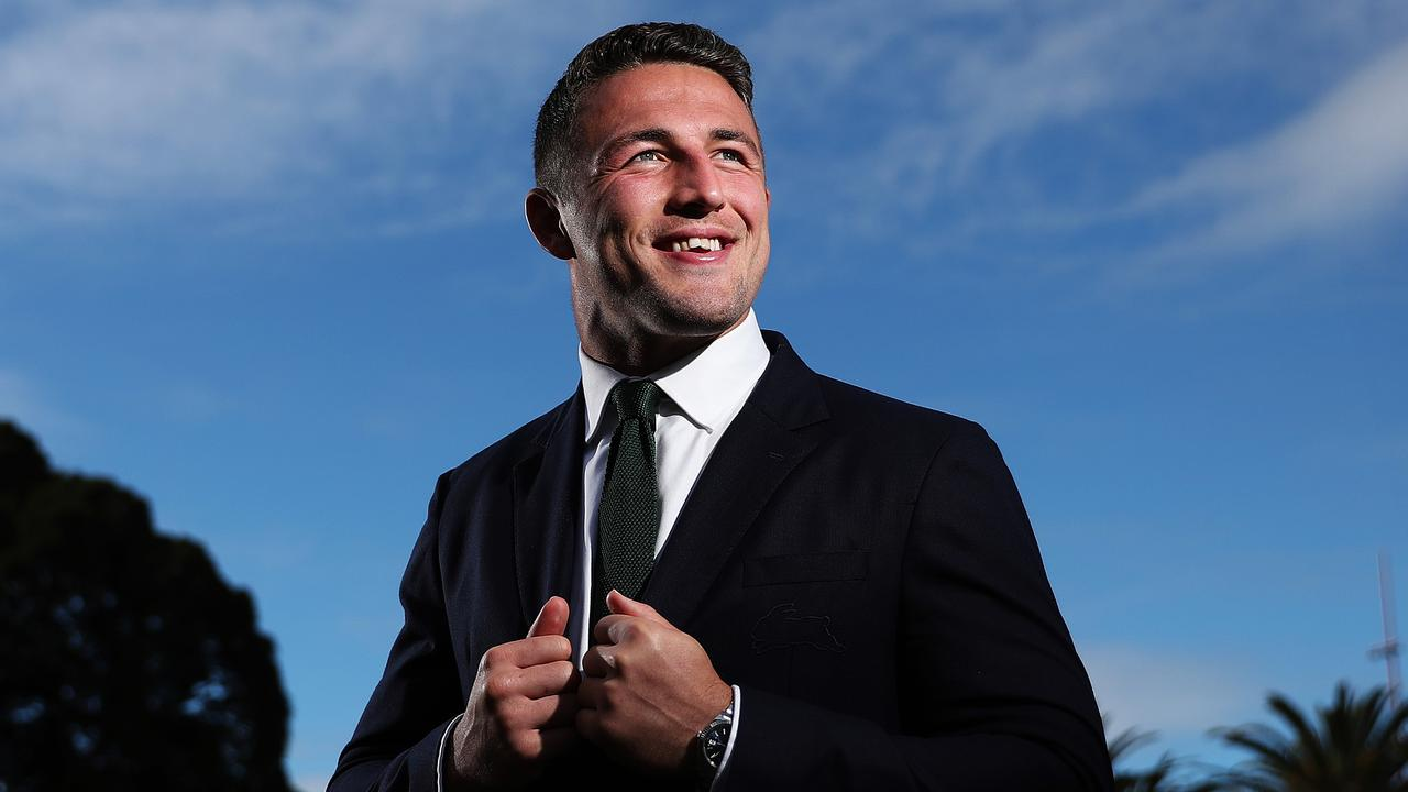 Sam Burgess yesterday announced he signed with South Sydney for life — and doesn't he looked chuffed about it.