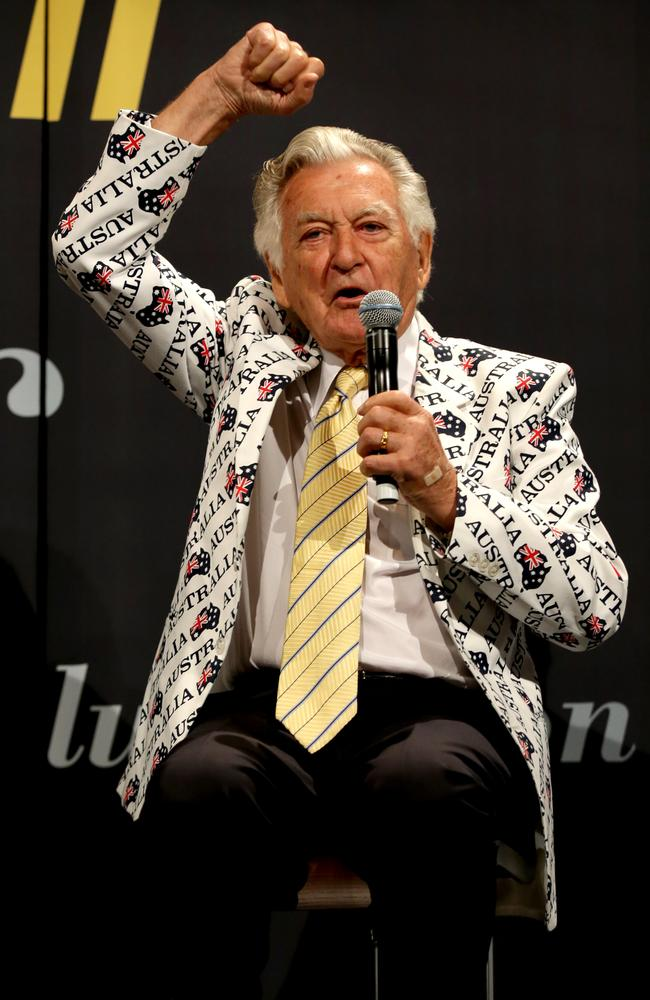 Bob Hawke in the famous jacket on stage during a luncheon to commemorate the 30th Anniversary of Australia II's America's Cup victory. Picture: Gregg Porteous