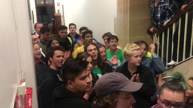 Riot police were called to Bettina Arndt's talk at the University of Sydney.