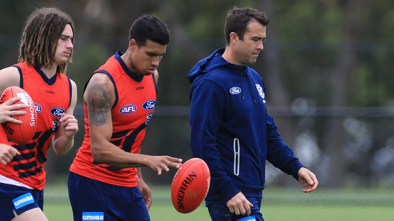 Tim Kelly and Geelong coach Chris Scott. Picture: Peter Ristevski