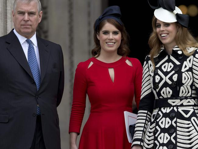 Britain's Prince Andrew, Duke of York (L), Britain's Princess Eugenie of York (C), Britain's Princess Beatrice of York (R). Picture: AFP