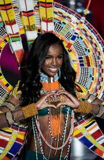 British model Leomie Anderson presents a creation during the 2017 Victoria's Secret Fashion Show in Shanghai on November 20, 2017. Picture: AFP PHOTO / FRED DUFOUR