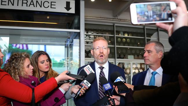 Editorial Director of the ABC Craig McMurtie speaks to members of the media outside the ABC building located at Ultimo in Sydney, Wednesday, June 5, 2019. Picture: AAP/David Gray.
