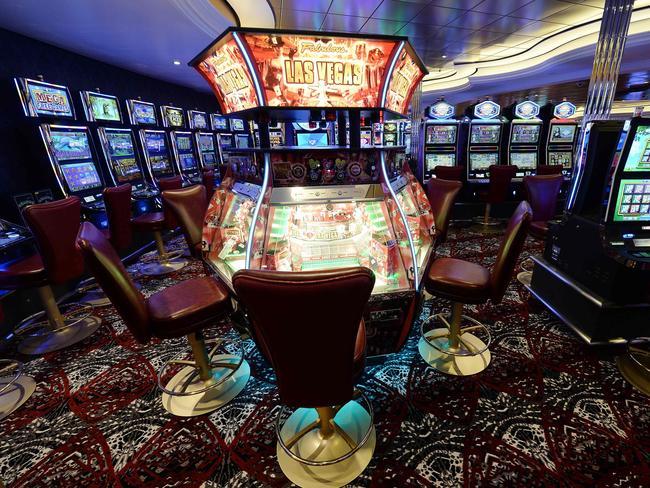 Slot machines inside the ship.