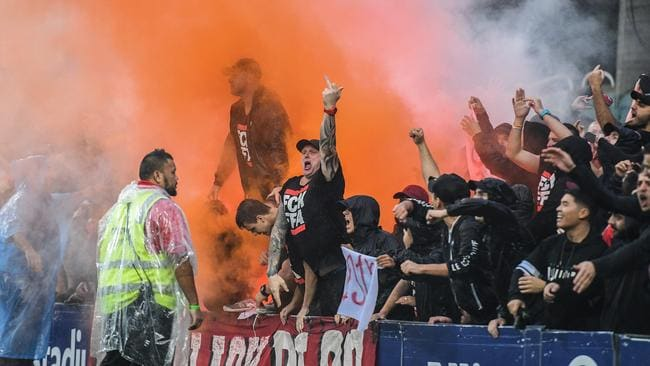 The RBB let off flares during the Sydney derby