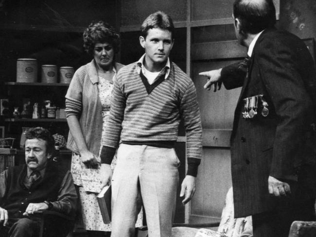 A staple of the Australian stage ... Bill Austin, Maggie Kirkpatrick, Tom Burlinson and Peter Cummins in a State Theratre Company of South Australia production of The One Day of the Year from 1980.