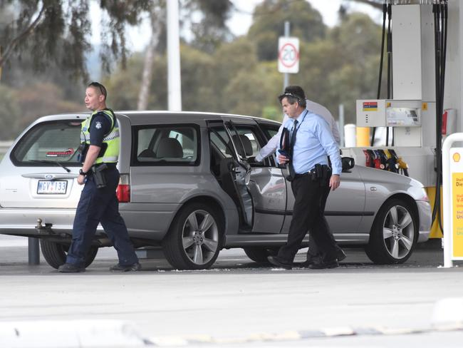 A man who kidnapped a baby after assaulting the 10-month-old and his pregnant partner in Mentone was arrested by police at a Coles Express Petrol station in Donnybrook. Picture: Tony Gough