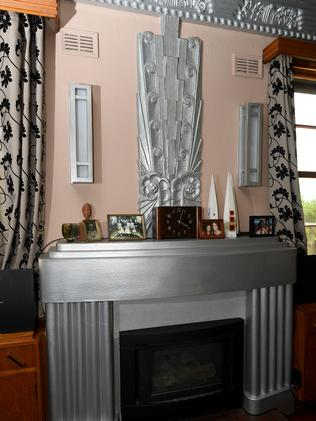 The art deco fireplace. Picture: Tricia Watkinson