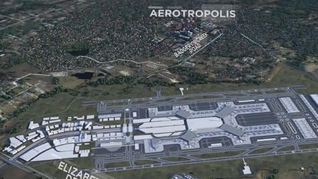 Concept images of the aerotropolis and the Western Sydney Airport which could be linked by a series of metro lines. Picture: Arterra Interactive
