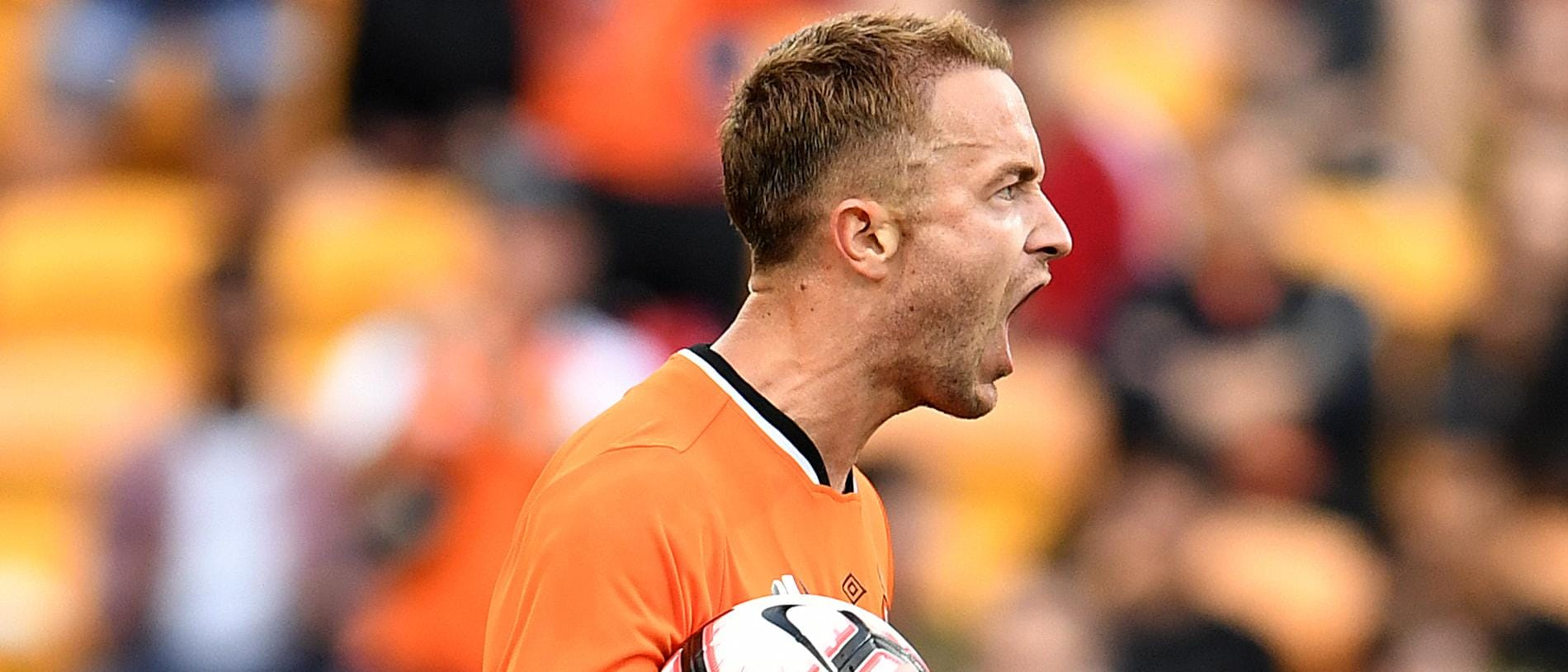 Adam Taggart of the Roar celebrates scoring a goal which was later disallowed during the Round 1 A-League match between the Brisbane Roar and the Central Coast Mariners at Suncorp Stadium in Brisbane, Sunday, October 21, 2018. (AAP Image/Dan Peled) NO ARCHIVING, EDITORIAL USE ONLY