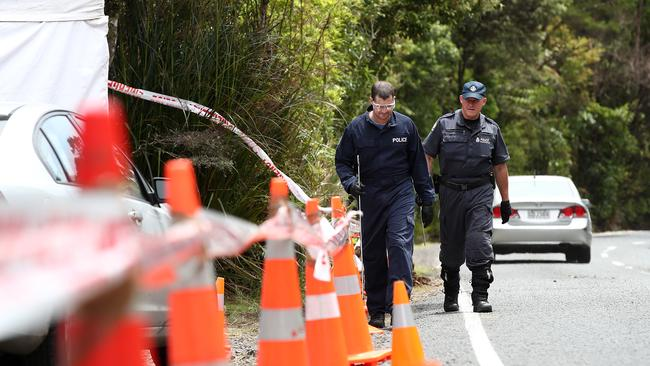 Police search the area where Grace Millane's body was found on December 10, 2018 in Auckland, New Zealand.