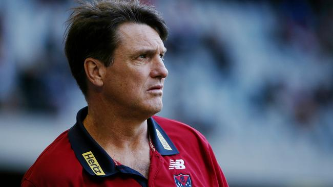 Paul Roos isn't happy with what he sees from the Demons against Brisbane. Picture: Colleen Petch