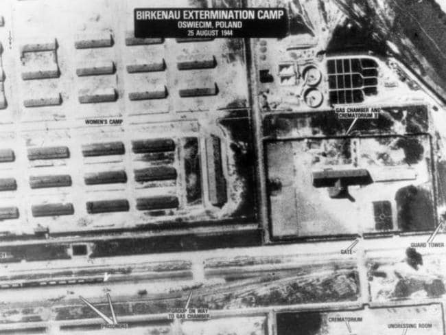 An aerial photo taken by the South African pilots from a reconnaissance unit of SAAF on August 25, 1944. Western part of the unloading ramp is visible, as well as crematories II and III and part of the camp. Picture: Auschwitz.org