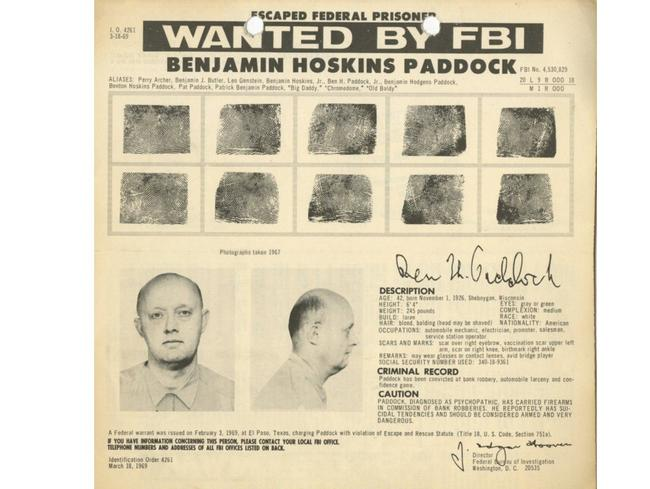 "The 1969 wanted poster for Stephen's Paddock's father Benjamin — also known as ""Big Daddy"" and ""Old Baldy""."