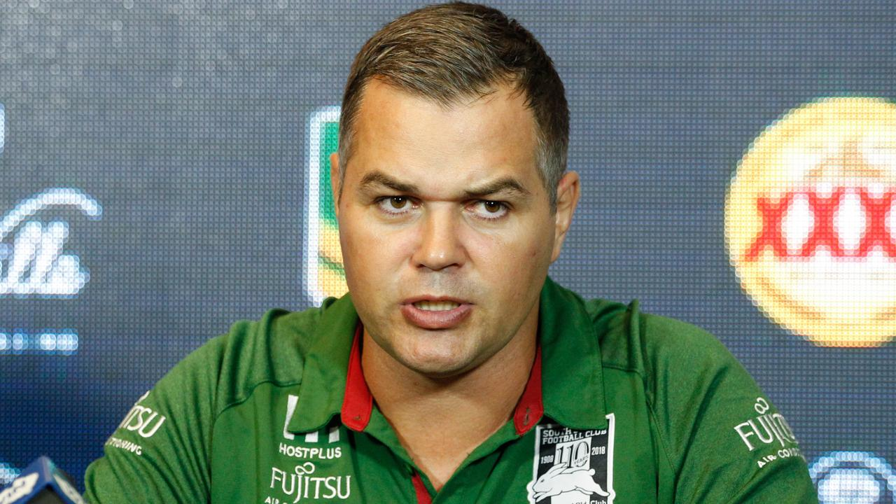 Coach Anthony Seibold of the Rabbitohs speaks to the media during the post-match press conference following the Round 11 NRL match between the North Queensland Cowboys and the South Sydney Rabbitohs at 1300SMILES Stadium in Townsville, Saturday, May 19, 2018. (AAP Image/Michael Chambers) NO ARCHIVING, EDITORIAL USE ONLY