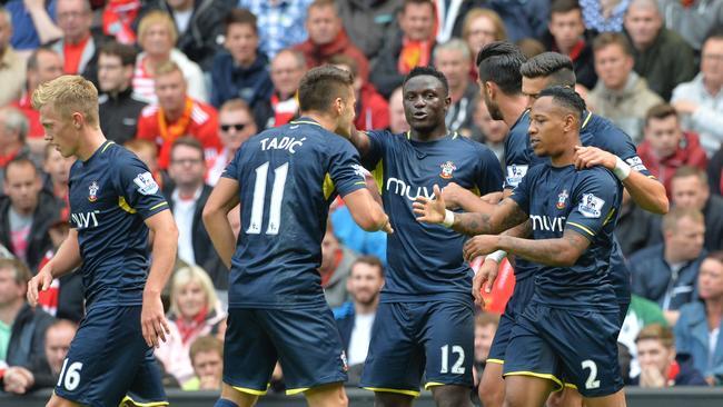 Southampton's English defender Nathaniel Clyne (R) levelled proceedings.