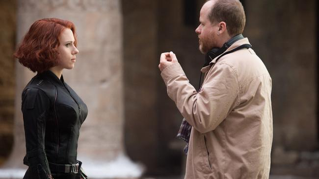 Scarlett Johansson with director Joss Whedon on Avengers: Age of Ultron. Picture: Jay Maidment Marvel 2015