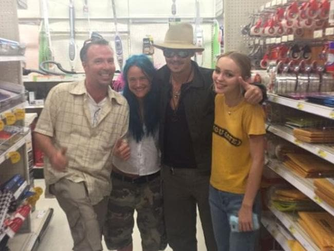 Johnny Depp pictured with daughter Lily-Rose Depp and friends on the set of  <i>Yoga Hosers </i>last year. Picture: Instagram