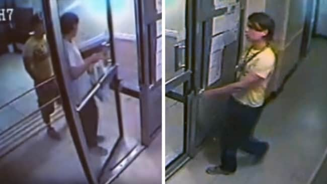 Jun Lin and Magnotta arriving at his apartment (left) and hours later Magnotta alone wearing Jun's T-shirt (right). Image: YouTube.
