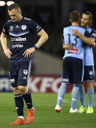 Berisha of the Victory looks dejected.