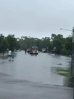 Beau Park Drive and Griffey Street in Burdell swamped by flash flooding. Picture: Samantha Sheehan