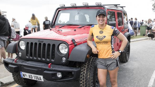 Pro surfer Tyler Wright with her Jeep Compass. Picture: Supplied.
