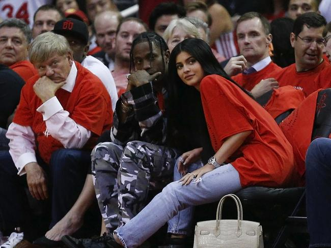 Kylie Jenner, right, with boyfriend Travis Scott, is one of the most powerful celebrities on social media. Picture: Getty Images